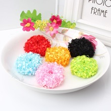 1 Package=12pcs Colorful Causal Fluffy Scrunchy Girls Hair Accessories Hair Holders Ponytail Female Elastic Hair Band