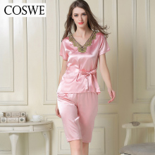 COSWE XXL Brand Short Women's Pajamas Set Sexy Female Sleepwear Confortable Kigurumi V-Neck Homewear Pijamas Mujer Set HB1601