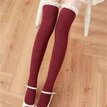 2016 High Knee Socks Lace 5 Colors Twist Cotton Lace Warm Over Knee Stocking Long Tube Thigh High Stocking Medias for Women Girl(China)