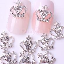 10Pcs Silver Crown Shining Rhinestone Nail Art Accessories Cellphone Decoration(China)