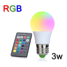 NEW E27 3W RGB LED Lamp Lampara LED RGB Bulb 110V 220V 230V High Power LED Light Lamp Energy Saving With 24key IR Remote