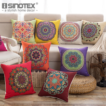 Linen Fabric Cushion Cover Pillowcase Pillow Case Christmas Gift Floral Decorate Home Textile Sofa Living Room 18 Colors 45x45CM(China)