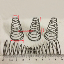 10pcs  1.0*10&25*40mm  Steel conical coil spring  1.0mm wire conical sprial compression spring  double conical spring