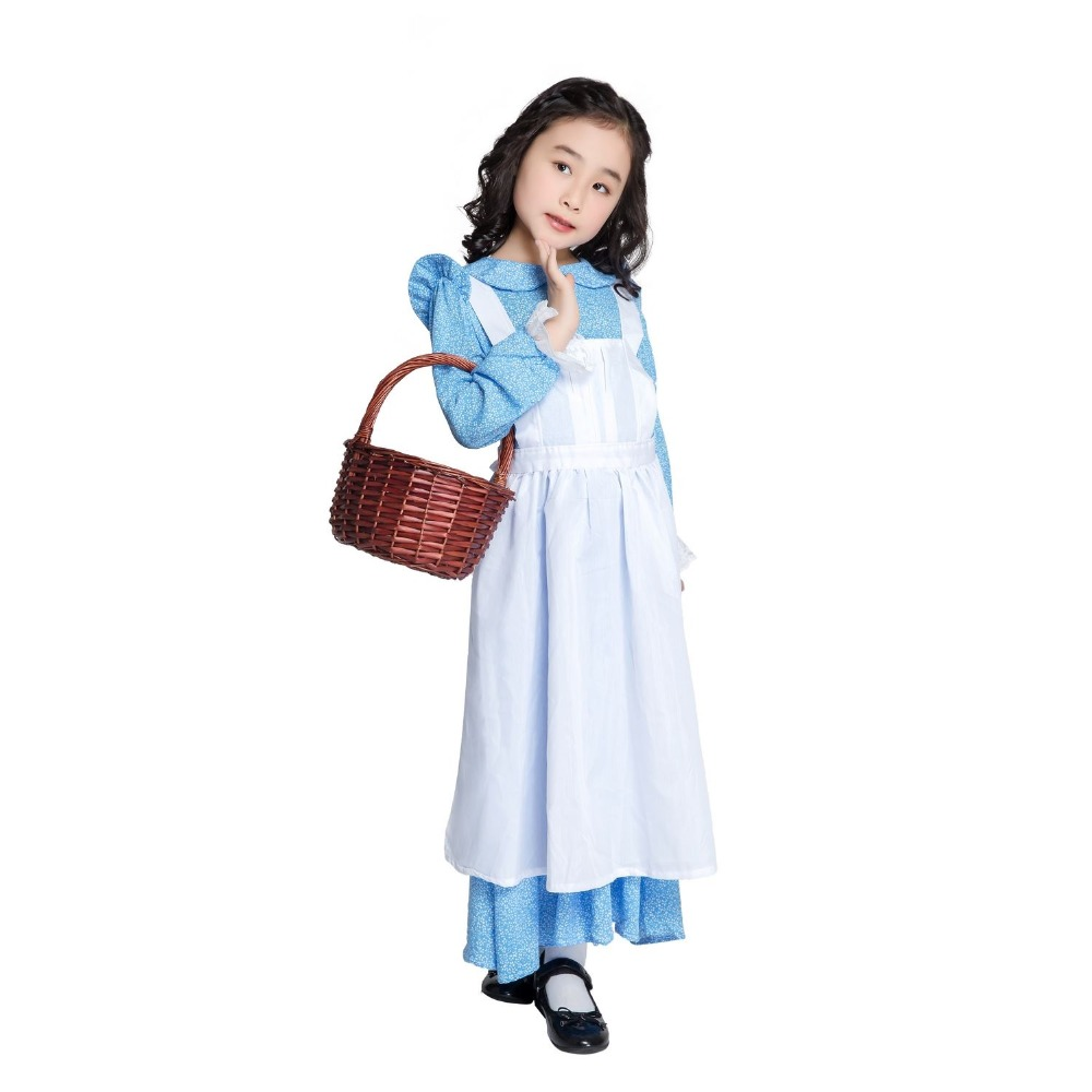 Alice in Wonderland Kids Girls Fancy Dress Maid Lolita Cosplay Costume Outfits Set Lolita Dress Maid Fantasia Carnival Cosplay