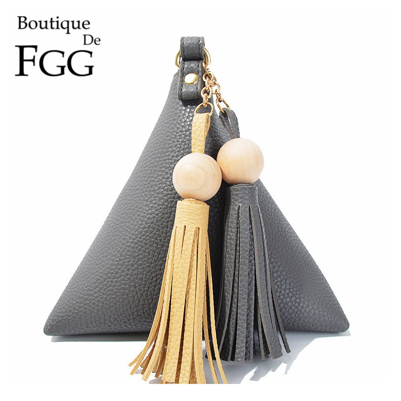 Triangle Pyramid Shape Gray PU Women Clutches Bag Tassel Evening Wristlets Bags Casual Party Dinner Handbags Purses For Iphone 7<br><br>Aliexpress