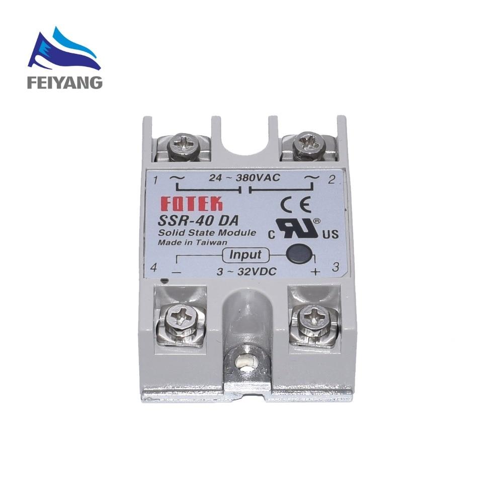 10PCS SSR-40 DA DC to AC DC-AC Solid State Relay Module   SSR-40DA Temperature Controller 24V-380V 40A 250V 1