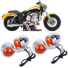 Motorcycle 4x Silver Chrome Plate Bullet Turn Signal Lights Indicator Lamp Fit for Harley Dirt Bike Honda Guzzi Yamaha Suzuki