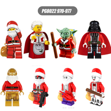 PG8022 Christmas Series 8pcs/set Santa Claus Yoda Darth Vader Deadpool DIY Figure  Compatible Children Gift Toys
