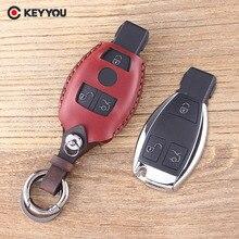 KEYYOU Leather Car Key Shell 3 Buttons Mercedes Key Benz S SL ML SLK CLK E Smart Key Fob Remote Key Case Cover