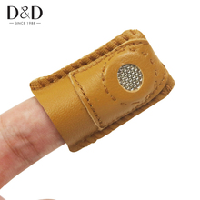 5pcs DIY Synthetic Leather Coin Thimble with Metal Tip Handmade Needlework Sewing Accessory 4*3.5cm(China)