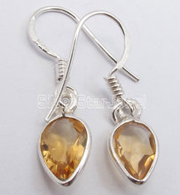 Chanti International Solid Silver Facetted YELLOW Citrines Lightweight DELICATE Earrings 2.8 CM