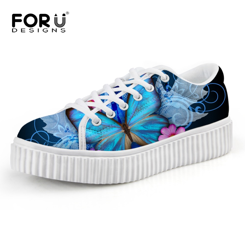 FORUDESIGNS Fashion Womens Butterfly Printed Creepers Shoes Breathable Lace-up Female Flat Platform Shoes Height Increasing<br>
