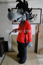 High quality Pink Clothes Wolf Mascot Costume Party Costumes Adult Size Fancy Dress Suit Free Shipping