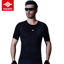 Santic Cycling Jersey High Elasticity Back Mesh Breathable Men's Short Sleeve Downhill MTB Mountain Bike Shirts - Sunshine Outdoor Sports CO., LTD store
