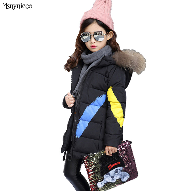 Childrens Winter Jackets for Girls 2017 Fashion Casual Print Warm Long Thick Hooded Coats Teenage Girls Kids Outerwear <br>