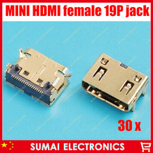 free shipping 30pcs/lot mini HDMI 19Pin female plug socket jack connector,4 foot DIP,for HD TV Interface ETC