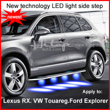 Newest side step bar running board with LED light for VW Touareg,for Lexus RX for Edge,Insured by insurance company,safe product