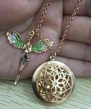 LU YING (with Colorful Diffuser 9 pads) PHOTO Round Essential Oil Filigree Locket Necklace LIKE Aromatherapy - Korsva Customize & . Min Order : USD$10 store