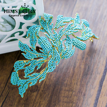 HIMSTORY Gorgeous Women Crown Crystal Blue Beads Jewelry Hair Ornaments Hair Tiara Photography Wedding PArty HAir Accessories(China)