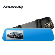 4.3 Inch HD 1080p Rearview Mirror Tachograph Car DVR Camera Dual Lens Blue Metal Mirror Night Vision digital video recorder(China)