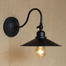 Iron black lampshade wall lamp vintage E27 Edison goose neck wall light loft style sconce indoor and outdoor lighting wall lamp(China)