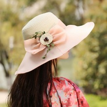 Large Wide Brim Hats Organza Flower Sun Hats Ladies Kentucky Derby Wedding Party Dress Floppy Summer Hats for Women(China)