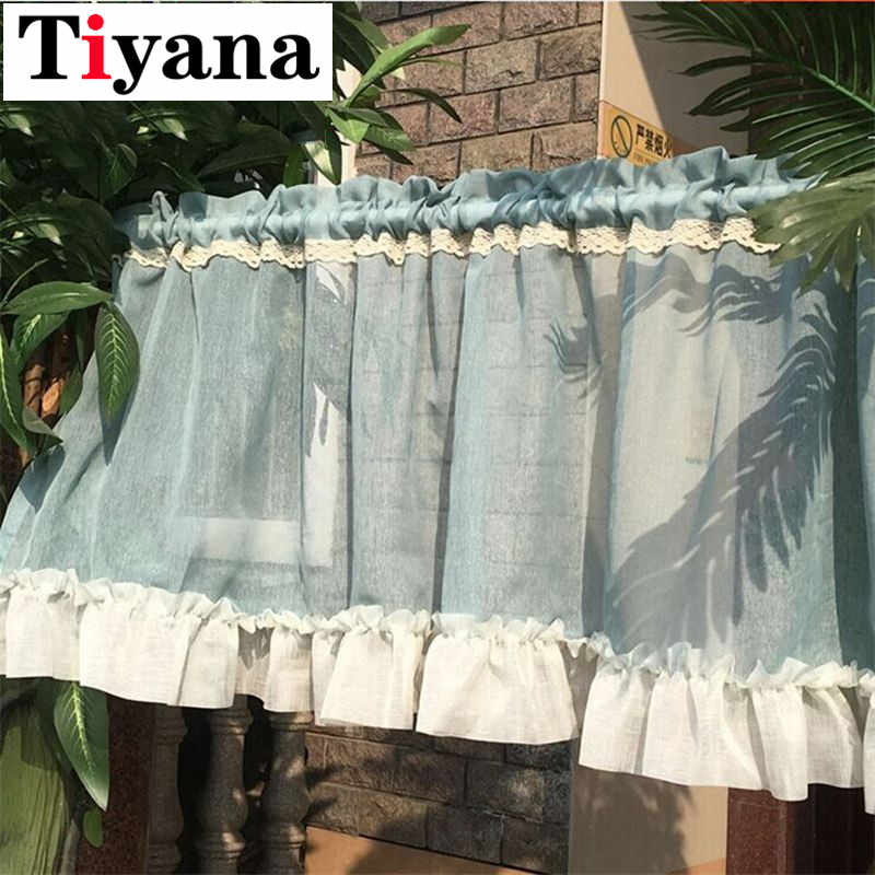 Fresh simple semi-shade coffee short kitchen window valance screen head half curtains finished product cabinet drape SC003D3