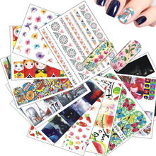 15pcs Mixed Water Transfer Sticker Nail Art Decals Sets Russian Doll Beauty Flower Water Tattoos DIY for Polish Gel STZ455-469(China)