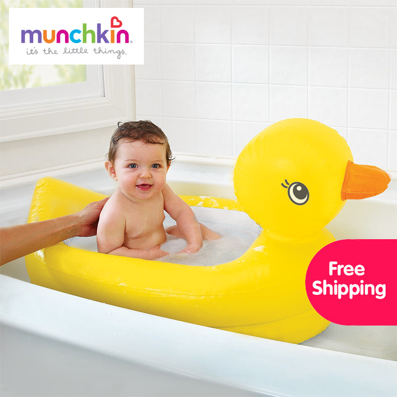 Munchkin White Hot Inflatable Safety Bath Tub Duck free shipping worldwide 1 count  Kids Mini playground <br>