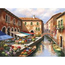Hand Painted contemporary art Venice landscapes Oil painting on canvas Flower Market on the Canal wall decor(China)