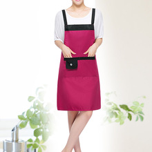 [WIT]Rose Pvc Waterproof Adjustable Apron Uniform With 2 Pockets Hairdresser Kit Salon Hair Tool Chef Waiter Kitchen Cook Tool