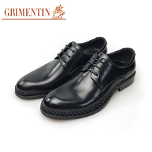 GRIMENTIN men shoes luxury black genuine leather man business office shoes formal shoes 2017(China)
