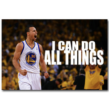 NICOLESHENTING Stephen Curry Motivational Quote Basketball Art Silk Fabric Poster Print  Sports Picture Room Wall Decor 044