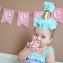 Mini Felt Glitter Gold Crown with Pretty Flowers Headbands Slim Hairband For Kids 1st Birthday Party DIY Hair Accessories