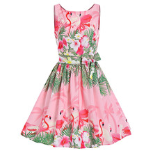2017 Ladies Summer Sleeveless Vintage Princess Dress Swan Print Summer A Line Vintage Party Dress(China)