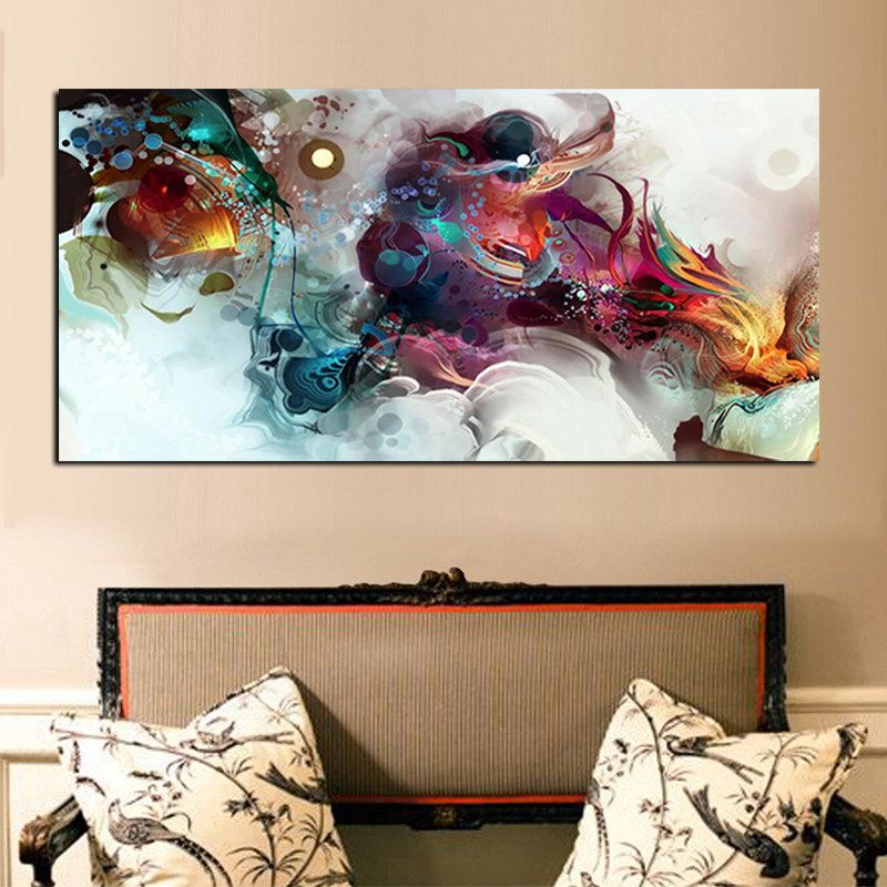 Retro Dragon Abstract Oil Painting Print on Canvas Painting Cuadros Decoracion Poster Wall Picture for Living Room Sofa Decor