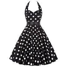 Polka Dot Dress Rockabilly Dresses Robe Femme 2018 Strapless 50s 60s Robe Vintage Vestidos Pin Up Big Swing Women Summer Dress(China)