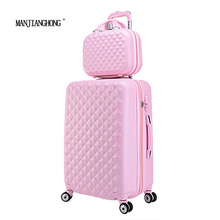 "20""+12""Hot sales Diamond lines Trolley suitcase set/travell case luggage/Pull Rod trunk rolling spinner wheels/ ABS boarding bag(China)"