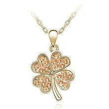 New Arrival Rhinestone Four Leaves Clover Gold Color Necklace 10pcs/lot Free Shipping