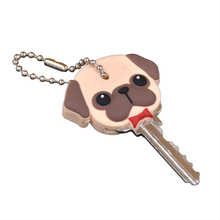 New Arrival PVC Cute Pet Dog Cat Key Cover Cap Rubber Pug Key Chain Key Ring Men Women Unisex