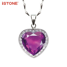 iSTONE 100% Natural Gemstone Purple Amethyst Heart 925 Sterling Silver Pendant Necklace Fine Jewelry Gift for Girl Lover(China)