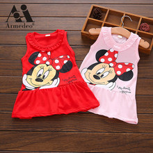 Armedeo Red/Pink Baby Girls Minnie Mouse Dress Kids Cartoon Tops Clothes Party Dresses(China)
