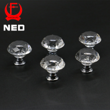 10PCS NED 20-40mm Diamond Shape Design Crystal Glass Knobs Cupboard Drawer Pull Kitchen Cabinet Door Wardrobe Handles Hardware