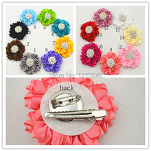 Trail order 2014 NEW rhinestone silk flower hairpin DIY Layered satin ribbon flower brooch hair wedding accessories 15pcs/lot