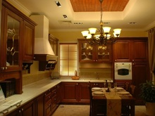 fancy cherry solid wood kitchen cabinets(LH-SW058)