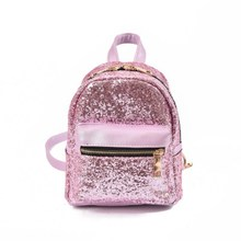 2017 New Arrival Women  PU Leather Sequins Backpack All-match Bag Girls Small Travel Princess Bling Backpacks Mochila Feminina