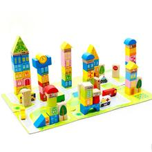 100pcs/set Cartoon City Traffic Wooden Building Blocks DIY Creative Kids Wood Bricks Children Early Educational Toys Gift(China)