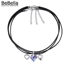 BeBella 3 in 1 rope chain crystal heart pendant necklace Made with Austrian crystals from Swarovski for women 2017 fashion gift
