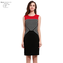 ElaCentelha Neoclassicism Summer Women Casual Dress Striped Color Block Patchwork Autumn A-line Fitted Day Dresses(China)