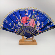 2017 New Chinese Japanese Vintage Fancy Folding Fan Hand Plastic Lace Silk Flower Dance Fans Party Supplies For Gift